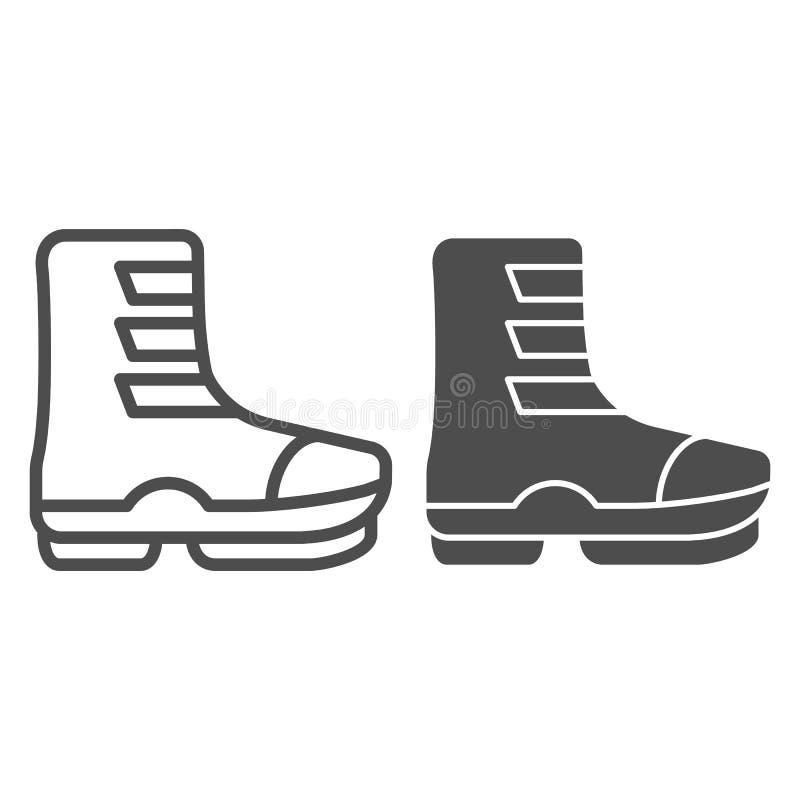Linha da bota de esqui e ícone do glyph Botas na ilustração do vetor da curvatura isolada no branco Projeto do estilo do esboço d ilustração stock