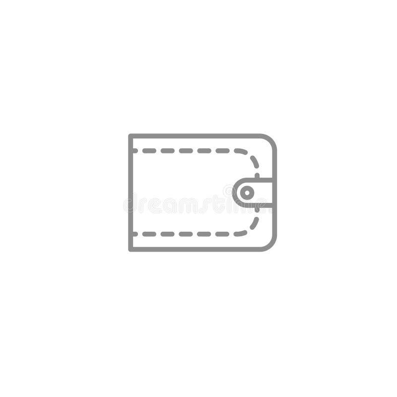 A linha da carteira dos homens dilui o ícone Único bifold cinzento isolado no fundo branco ilustração royalty free