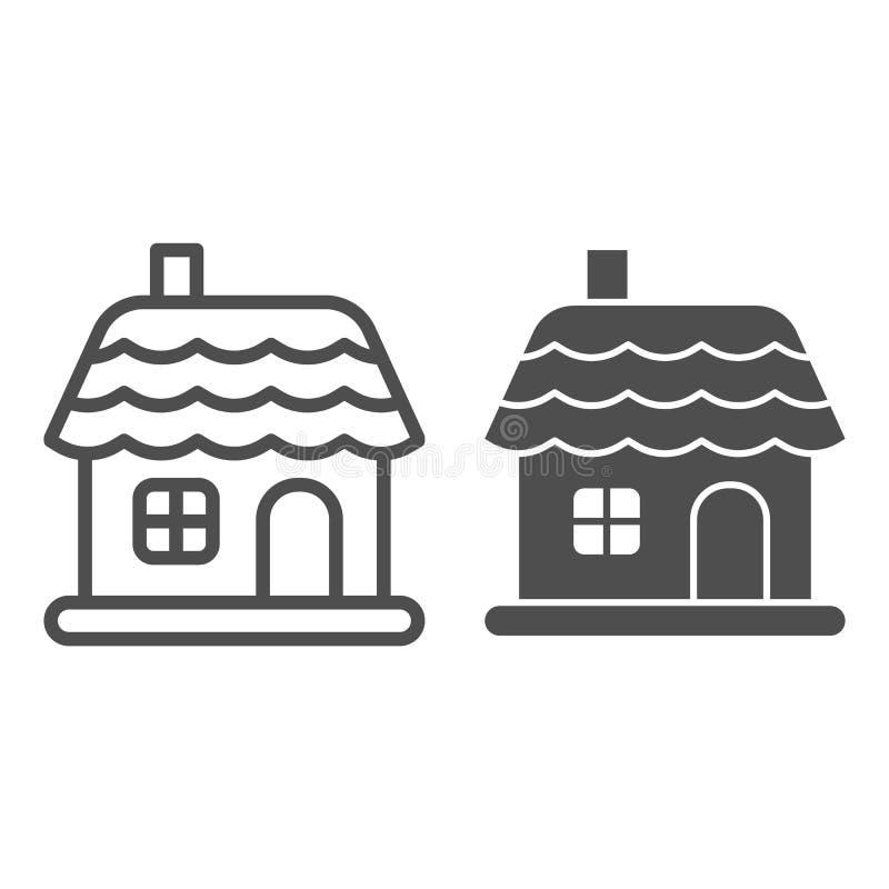 Linha da casa do Natal e ícone do glyph Ilustração do vetor da casa do inverno isolada no branco Esboço da construção do Natal ilustração stock