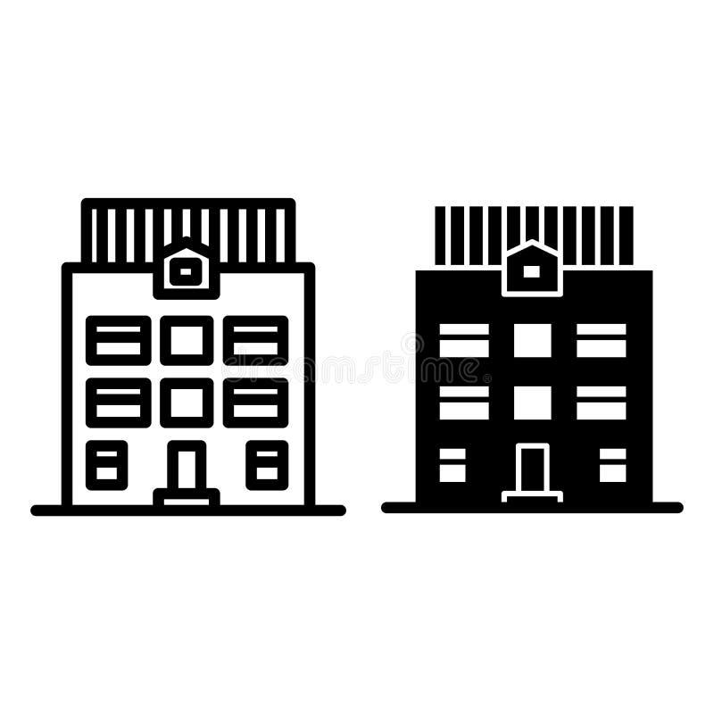 linha da casa da Três-história e ícone do glyph Ilustração do vetor da arquitetura isolada no branco Estilo exterior do esboço da ilustração stock