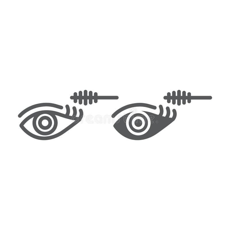 Linha da composição do olho e ícone do glyph, beleza e composição, sinal da escova do rímel, gráficos de vetor, um teste padrão l ilustração do vetor