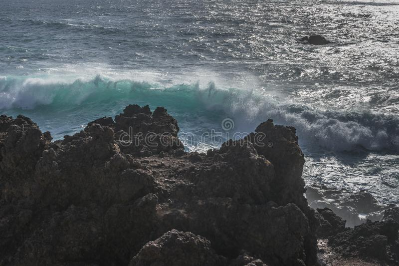 Linha da costa em Lanzarote fotos de stock royalty free