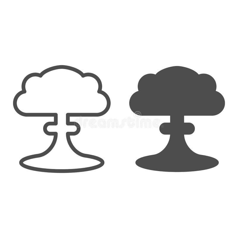 Linha da explosão nuclear e ícone do glyph Ilustração radioativa do vetor da explosão isolada no branco Esboço do apocalipse ilustração stock