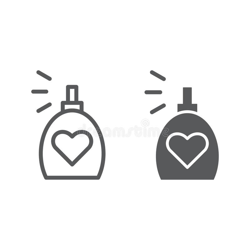 Linha da fragrância e ícone do glyph, aroma e amor, sinal do perfume, gráficos de vetor, um teste padrão linear em um fundo branc ilustração royalty free