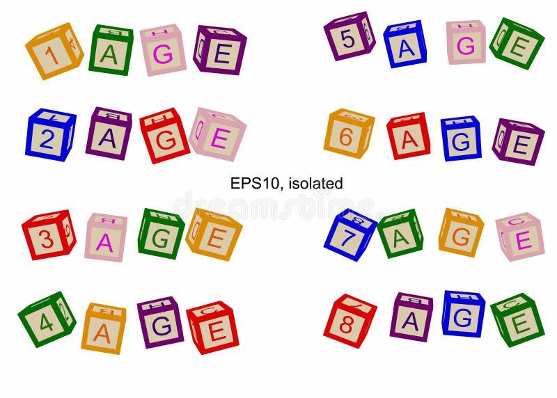 Linha da idade, números de idades Ilustração para livros ou cartazes ilustração stock