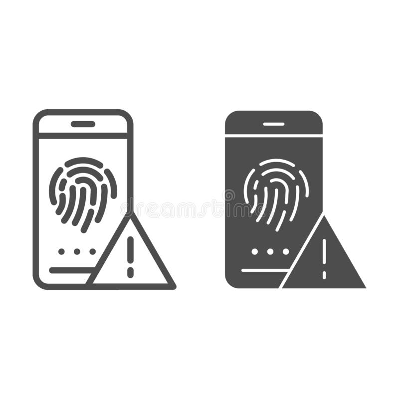Linha da identificação da impressão digital e ícone do glyph Ilustração do vetor da autorização isolada no branco Esboço do senso ilustração royalty free