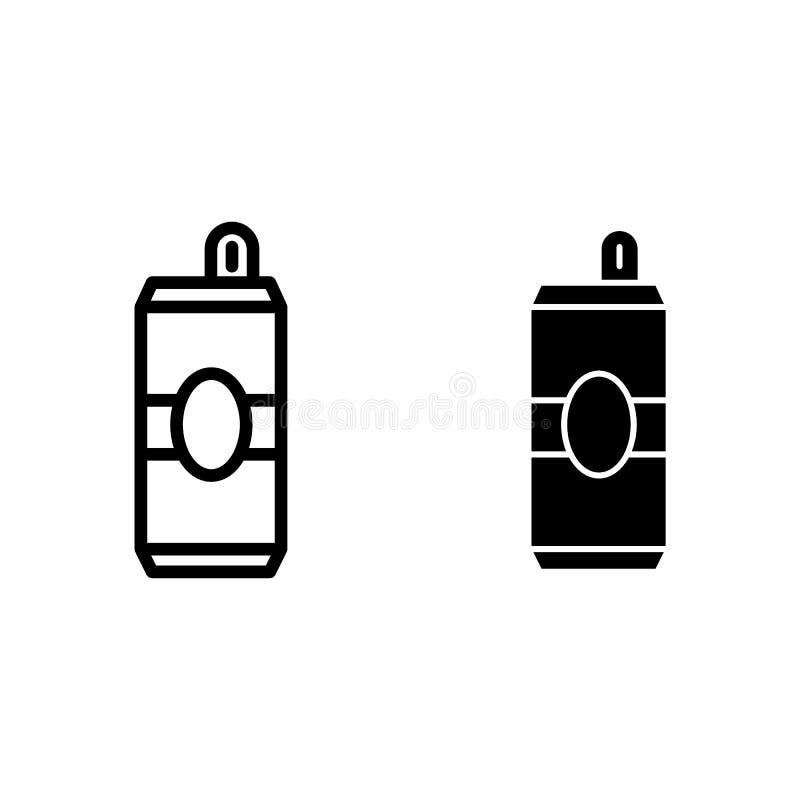 Linha da lata de cerveja e ícone do glyph Ilustração do vetor da lata de alumínio isolada no branco Projeto do estilo do esboço d ilustração do vetor