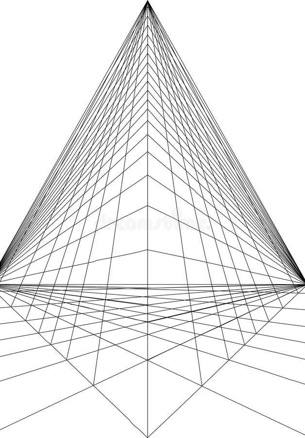 Linha da perspectiva de Pyramide ilustração royalty free