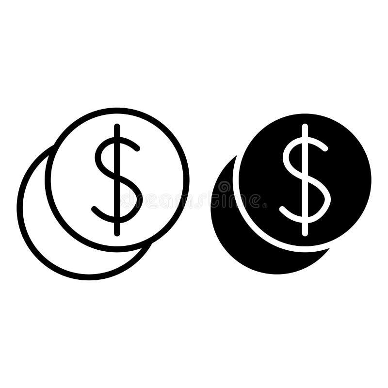 Linha da pilha da moeda e ícone do glyph Ilustração do vetor das moedas do centavo isolada no branco Projeto do estilo do esboço  ilustração stock
