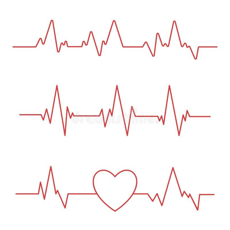 Linha da pulsação do coração isolada no fundo branco Ícone do cardiograma do coração fotografia de stock