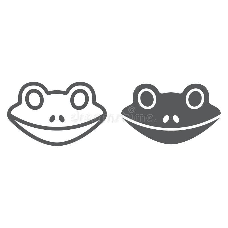 Linha da rã e ícone do glyph, animal e jardim zoológico, ilustração royalty free