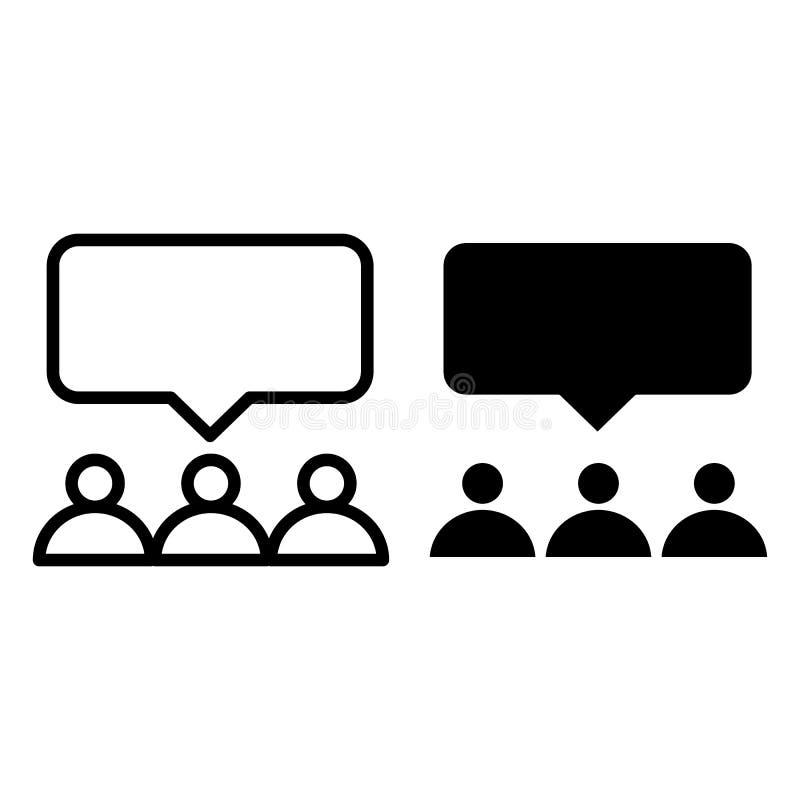 Linha da rede e ícone sociais do glyph Ilustração do vetor do usuário do grupo isolada no branco Projeto do estilo do esboço do d ilustração royalty free