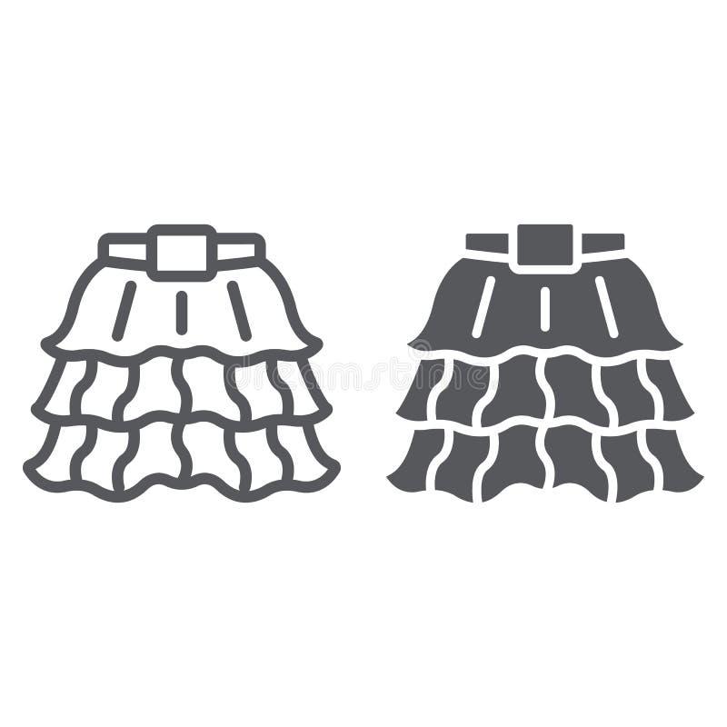 Linha da saia e ícone do glyph, forma e roupa, sinal do vestuário das senhoras, gráficos de vetor, um teste padrão linear em um b ilustração stock