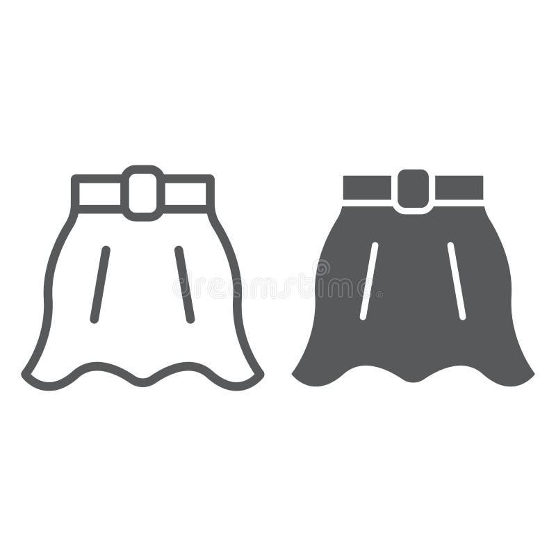 Linha da saia e ícone do glyph, roupa e fêmea, sinal alargado da saia, gráficos de vetor, um teste padrão linear em um branco ilustração royalty free
