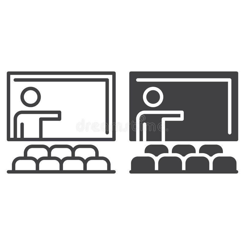 Linha da sala de aula e ícone contínuo, esboço e pictograma enchido do sinal do vetor, o linear e o completo isolados no branco ilustração royalty free