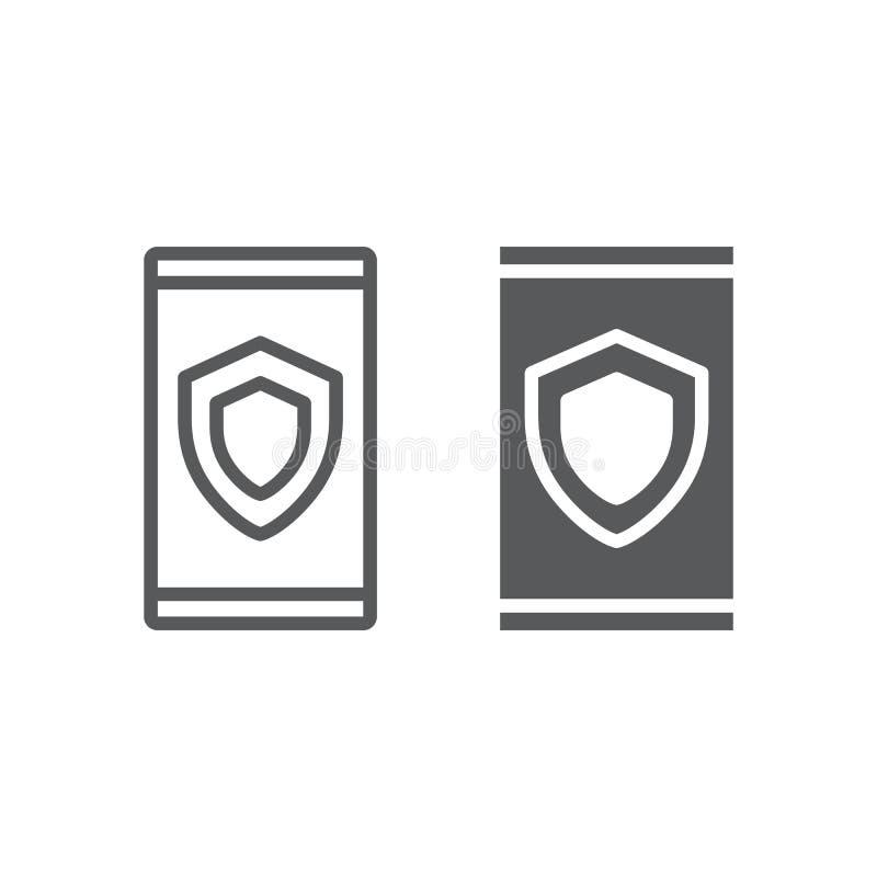 Linha da segurança do dispositivo e ícone do glyph, dados ilustração royalty free