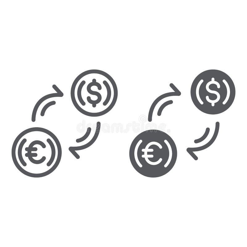 Linha da troca de dinheiro e ícone do glyph, finança e operação bancária, sinal de transferência de moeda, gráficos de vetor, um  ilustração royalty free