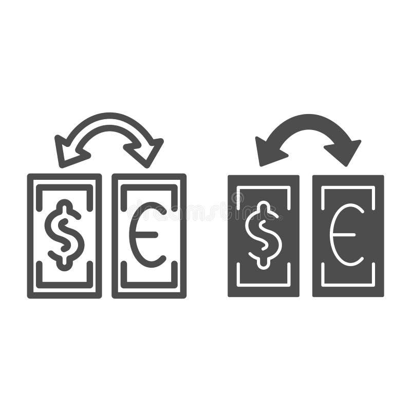 Linha da troca de moeda e ícone do glyph Ilustração do vetor da troca do dólar e do euro isolada no branco Cédulas e ilustração stock
