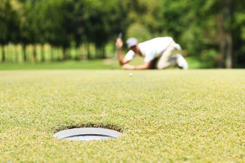 Linha da verificação do jogador de golfe do homem para pôr a bola de golfe sobre a grama verde fotografia de stock