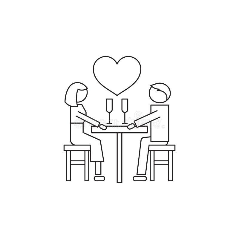 Linha datando romântica ícone ilustração royalty free