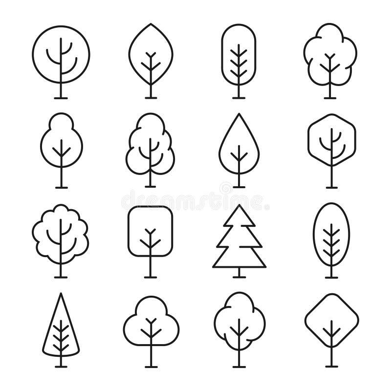 Linha de árvore ícone ilustração do vetor