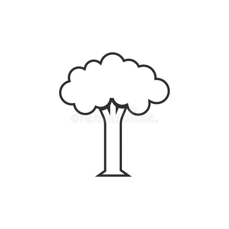 A linha de árvore vetor do ícone isolou-se ilustração stock