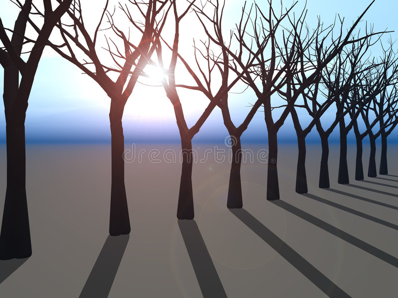 Linha de árvores no horizonte ilustração royalty free