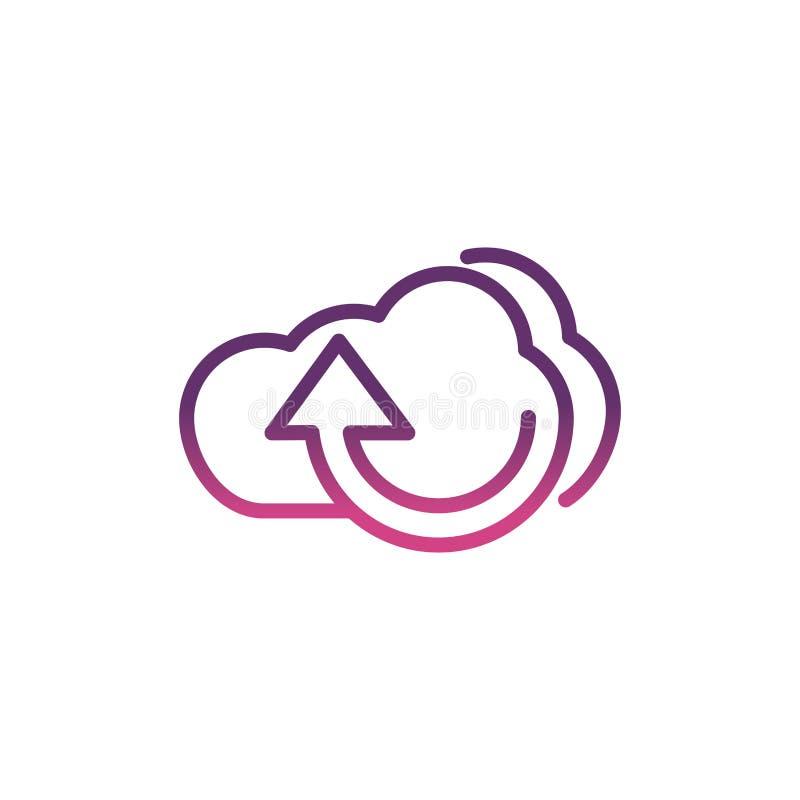 Linha de ícones de mídia social de upload de computação em nuvem ilustração stock