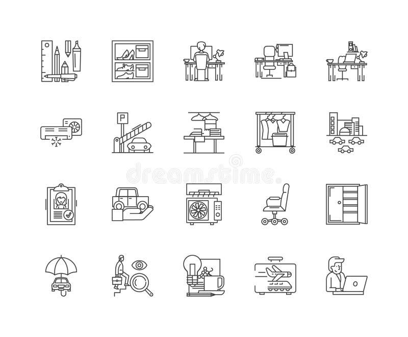 Linha de acomodação ícones do negócio, sinais lineares, grupo do vetor, ilustração do conceito do esboço ilustração do vetor