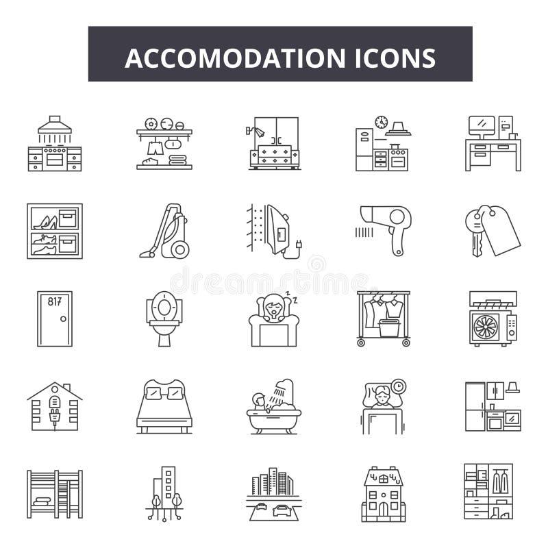 Linha de acomodação ícones Sinais editáveis do curso Ícones do conceito: curso, feriado, férias, hotel, sala etc. Alojamento ilustração stock