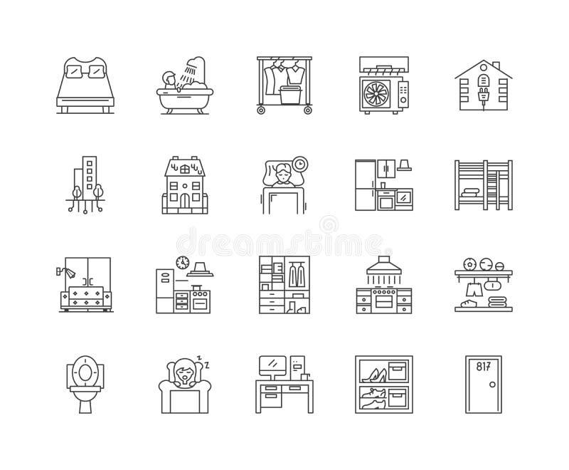 Linha de acomodação ícones, sinais, grupo do vetor, conceito da ilustração do esboço ilustração stock