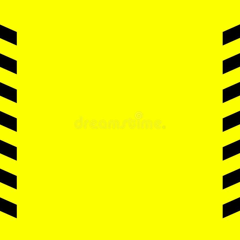 A linha de advertência preta e amarela listrou ilustração do vetor