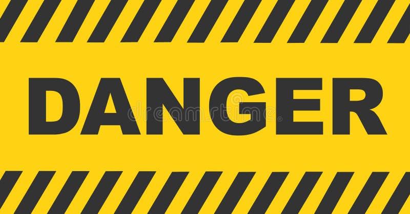Linha de advert?ncia preta e amarela fundo listrado Sinal do texto do perigo ilustração royalty free