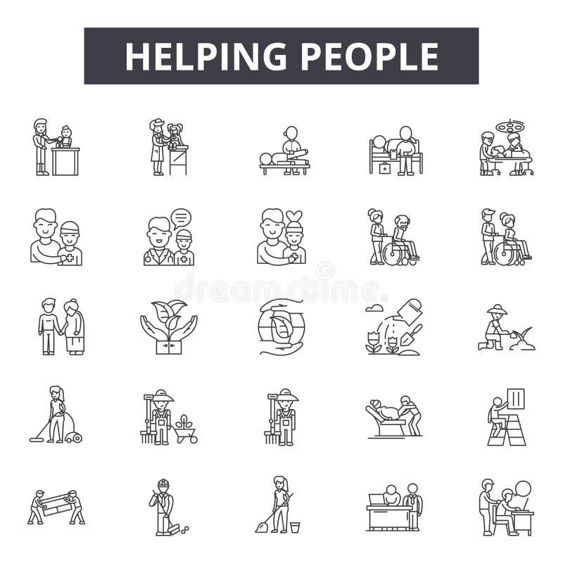 Linha de ajuda ícones dos povos para a Web e o projeto móvel Sinais editáveis do curso Povos de ajuda para esboçar ilustrações do ilustração stock