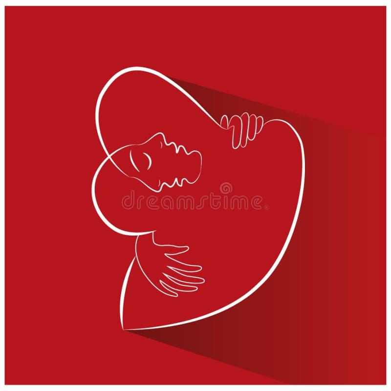 Linha de amor arte dos pares ilustração do vetor