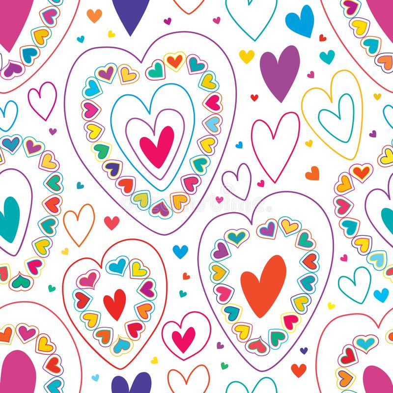 Linha de amor muita teste padrão sem emenda colorido ilustração royalty free