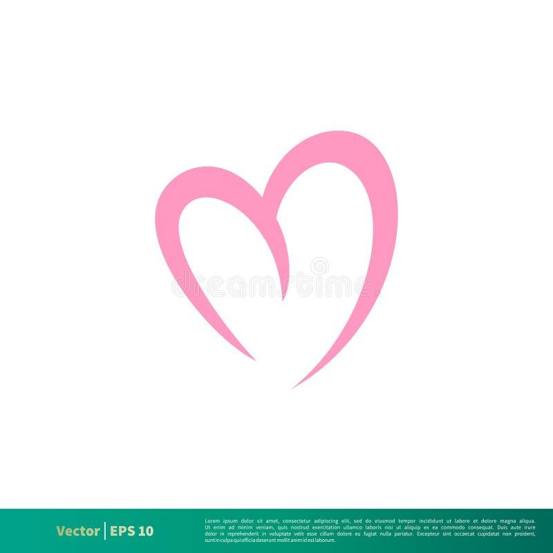 Linha de amor vetor do coração Logo Template Illustration Design do ícone Vetor EPS 10 ilustração royalty free