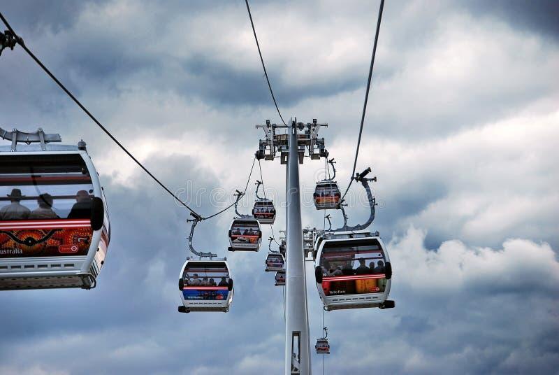 Linha de ar dos emirados do teleférico de Tamisa imagens de stock