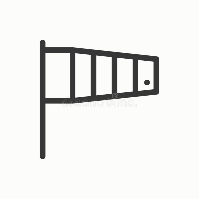 Linha de bandeira ícone simples da velocidade do vento Símbolos de tempo Cone de vento meteorologia Elemento do projeto da previs ilustração stock