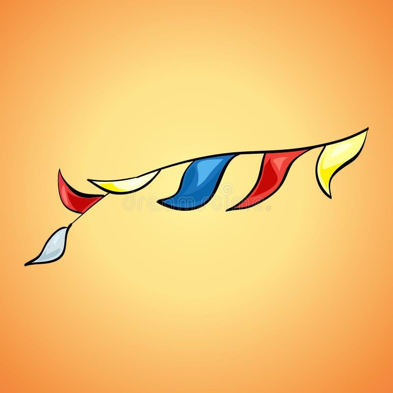 Linha de bandeiras colorida ícone, estilo dos desenhos animados ilustração do vetor