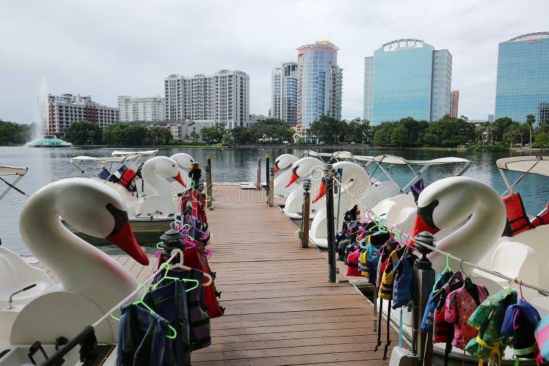 Linha de barcos de pá da cisne para o aluguel no lago Eola imagem de stock