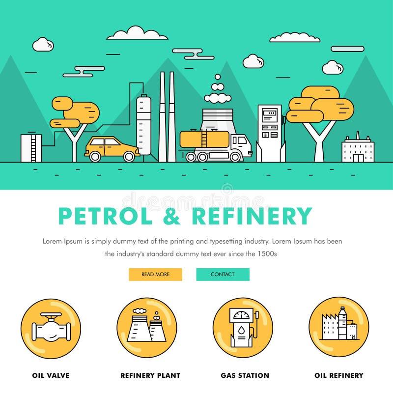 Linha de bloco fina ícones da cor e comp(s) lisos da indústria moderna da gasolina ilustração royalty free