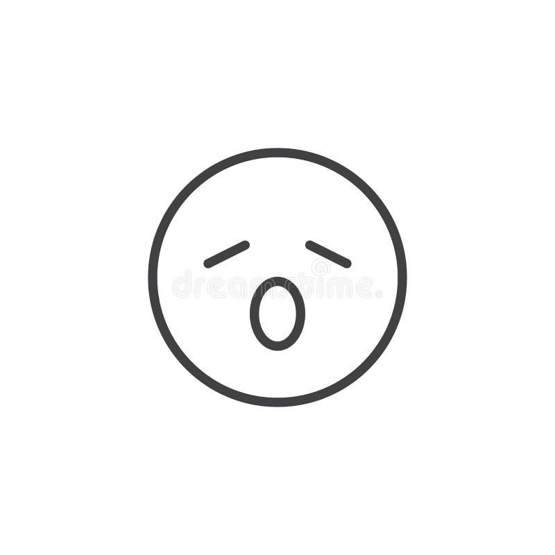 Linha de bocejo ?cone do emoji da cara ilustração do vetor