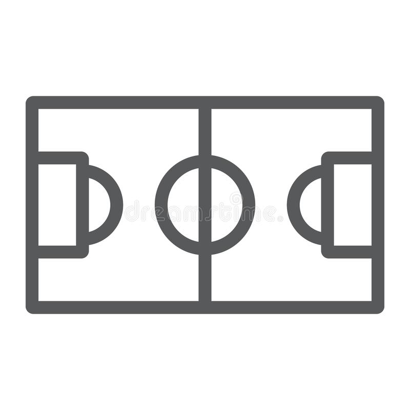 Linha de campo ícone do futebol, esporte e futebol, sinal do estádio, gráficos de vetor, um teste padrão linear em um fundo branc ilustração royalty free