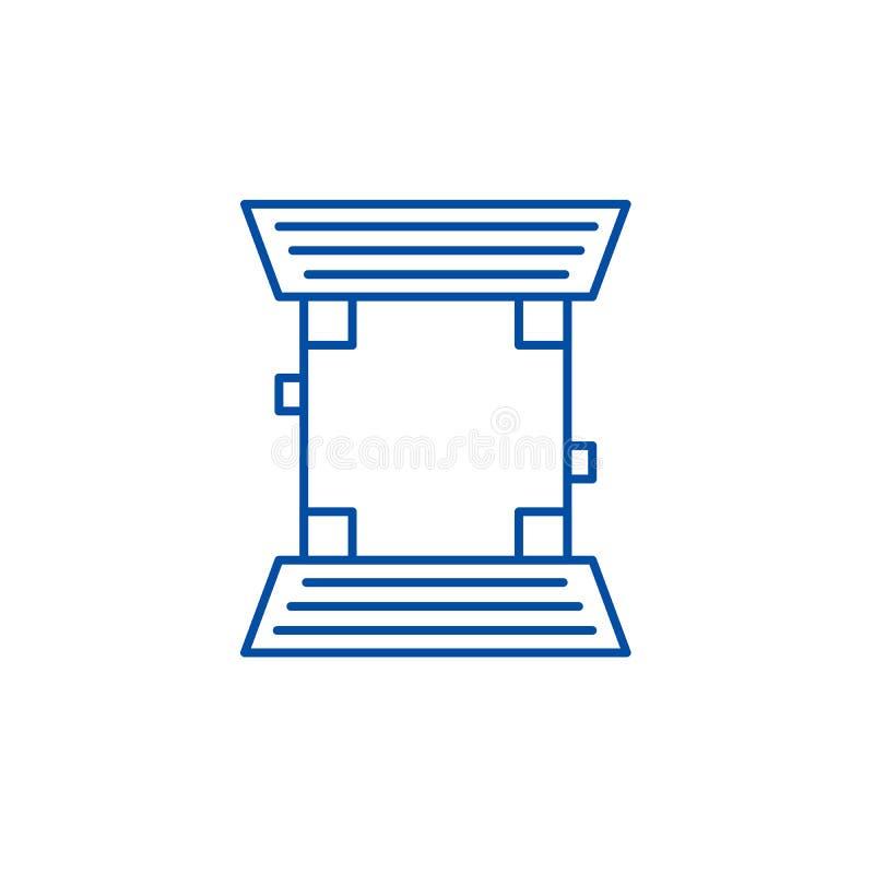 Linha de campo conceito do basebol do ícone Símbolo liso do vetor do campo de basebol, sinal, ilustração do esboço ilustração do vetor