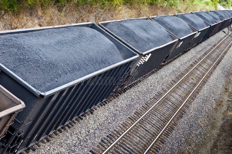 Linha de carros de frete de carvão na trilha do trem fotos de stock