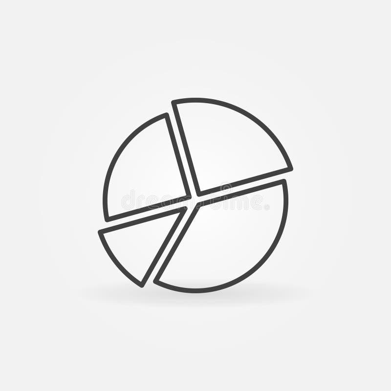 Linha de carta ícone da torta ilustração stock