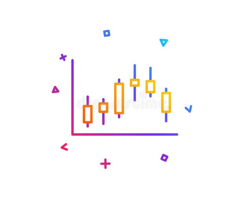 Linha de carta ícone do castiçal Gráfico financeiro Vetor ilustração royalty free
