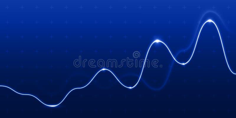 Linha de carta fundo azul da luz do gráfico da análise de dados Diagrama financeiro dinâmico do fluxograma do crescimento do diag ilustração royalty free