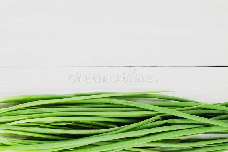 Linha de cebolas frescas verdes fotografia de stock royalty free